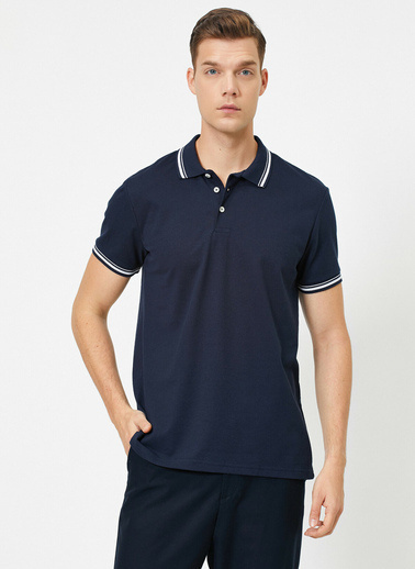 Koton Polo Yaka Kol ve Yaka Ucu Çizgili Slim Fit T-Shirt Lacivert